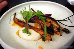20191031-45-Woodfired carrots with almond miso and harissa at Franklin in Hobart (Roger T Wong) Tags: 2019 australia franklin hobart metabones rogertwong sigma50macro sigma50mmf28exdgmacro smartadapter sonya7iii sonyalpha7iii sonyilce7m3 tasmania carrots dinner food harissa restaurant