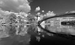 Insel der Jugend (Renate R) Tags: berlin inselderjugend islandofyouth blackwhite river clouds reflections bridge