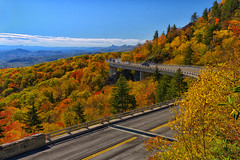 Linn Cove Viaduct By Day - 102419-120222 (Glenn Anderson.) Tags: overlook linncoveviaduct blueridgeparkway fallcolor morninglight pointofinterest morning sunshine northcarolina distantclouds autumndisplay rollinghills
