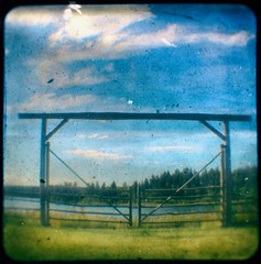 Water Gate (Crusty Da Klown) Tags: cariboochilcotin 108milehouse bc britishcolumbia canada water gate summer travel square canon ttv colorful outside outdoors politics scandle history composition scene picture flickr up down spin around wood wooden trees grass blue green