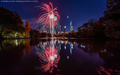 New York Marathon Fireworks (20191101-DSC07816) (Michael.Lee.Pics.NYC) Tags: newyork centralpark lake marathon fireworks night twilight bluehour longexposure reflection architecture cityscape sony a7rm4 voigtlanderheliar15mmf45 moon