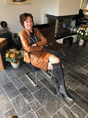 Cognac is something yummy (valkex1) Tags: otkboots mature color cognac jacket skirt leather
