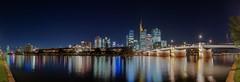 Frankfurt, Untermainbrücke Nachtpanorama (Frawolf77) Tags: frankfurt city cityscape blue hour bluehour nightscape panorama hessen germany deutschland river nightphotography skyline skylines