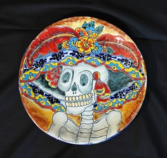 Mexican Plate Catrina Day of the Dead Pottery (Teyacapan) Tags: ceramics pottery mexican guanajuato catrina skeleton dayofthedead