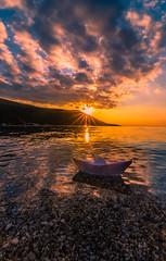 Sail away (Vagelis Pikoulas) Tags: sun sunset sea landscape paper boat sky clouds cloudy cloud cloudscape view canon 6d tokina 1628mm november autumn 2019