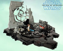 Star Wars Episode IX - TROS : Crashed Emperor's throne room (KevFett2011) Tags: kevfett2011 starwars episode ix tros skywalker rey kylo ren emperor palpatine throne room crashed trailer teaser lego build brick building hobby edit 2019 creation moc snot window broken glass lightsaber red blue
