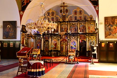 Church of Father Christmas . (john a d willis) Tags: danube serbia donjimilanovac church orthodox stnicholas fatherchristmas chandelier