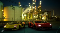 Lamborghini Aventador & SV (Matze H.) Tags: lambroghini aventador super veloce sv factory night light red yellow wallpaper screenshot scapes car race track uhd hdr 4k