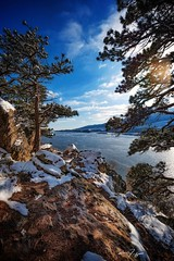 Early Winter Chill (CTfotomagik) Tags: winter chill reservoir cliff overlook boulders rocks trees forest ponderosa pine water lake snow cold frigid nature angle wide nikon d750 tamron colorado northern horsetooth county larimer country rural scenic ctfotomagik