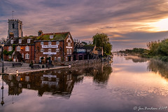 The Old Granary (Jon Benham Photography) Tags: wareham dorset autumn mist river frome reflections ripples clouds morning church granary