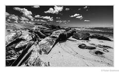 Beached Wood (Robert Streithorst) Tags: beach clouds driftwood hawaii kauai mono radianceoftheseas robertstreithorst rock sand sea sky