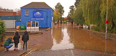 Photo of The A483 at Builth Wells during the October Floods