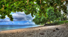 MAURITIUS St. Felix II (stega60) Tags: mauritius ilemaurice mountains sea indianocean indischerozean bucht bay blue green plant forest beach plage publicbeach clouds sky hdr pano panorama stiched stega60