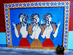 If you think.... (kirstiecat) Tags: crete greece cat blackcat streetcat gatonegro chatnoir mural eygyptian cleopatra streetart europe canon colors colours caturday feline kitty meow chat gato katze γάτα
