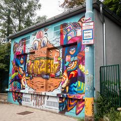 Bratislava graffiti (Mister Electron) Tags: apple appleiphonese bratislava mobile slovakia iphonese mobilephone phonecam vibrant colourful colorful streetart hamburger graffiti centraleurope