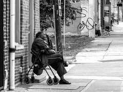 Chillin' (J Wells S) Tags: streetscene urban urbanstreetscene blackandwhite bw monochrome woman overtherhine otr findlaymarket cincinnati ohio