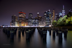 Lower Manhattan Skyline from Brooklyn (Lorencz Photography) Tags: newyork newyorkcity usa night nightphotography water skyline cityskyline canon5dmk2 longexposure