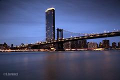 Manhattan Bridge at dusk (Lorencz Photography) Tags: newyork newyorkcity usa night bridge manhattanbridge water longexposure