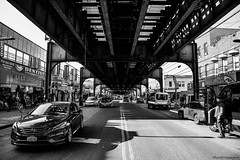 Under the Flushing line (Revised in B&W) (ricardocarmonafdez) Tags: newyork rooseveltavenue streetphotography lights shadows sunlight contrast contraste luces sombras people perspective perspectiva vanishingpoint nikon d850 monocromo monochrome bn bw blackandwhite