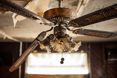 Restaurant Ceiling Fan (Devon OpdenDries) Tags: abandoned fire damage smoke soot burnt old derelict decay forgotten resort restaurant fishing hunting northern ontario canon5dmkii