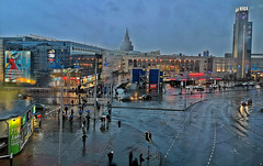 Central Station Square in Riga, Latvia. November 2, 2019 (Aris Jansons) Tags: outdoors fall autumn rain square street buildings city capital riga latvia baltic europe 2019 centralstation shoppingcentre origo intersection railway clocktower