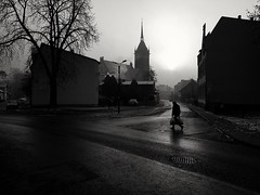 At dawn (wojciechpolewski) Tags: dawn morning streetsnap streetexplorer streetshot street urbanexplorer urban urbanlife citylife photos photo blanconegro blackwhite blackandwhite schwarzweis poland wpolewski people church architecture