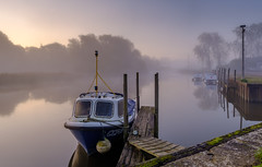 Morning (littlenorty) Tags: boats landscape mist reflection river sunrise thames transport type weather
