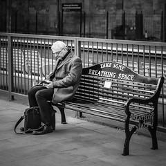 Take some breathing space (Michael Erhardsson) Tags: street people scotland 2019 svartvitt black white bench man
