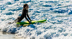 surfer bride in lace of white foam. (Ardan_Dojan) Tags: ocean waves surf white foam surfer girl wetsuit early morning cold surfboard beach australia nature photoart seascape travel travelphotography h