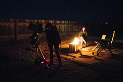 A dark sky, a telescope and a fire. (M///S///H) Tags: backyard celestron fire highiso home nightsky patio pointandshoot porch rx1rii solostove sony telescope