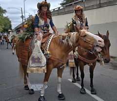Staging Before The Parade (Scott 97006) Tags: riders woman females ladies horses cute flowers