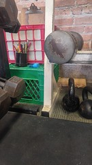 Still life at gym (sfrikken) Tags: gym dumbbells weights workout kettlebells fords madison wisconsin crate rack pencil