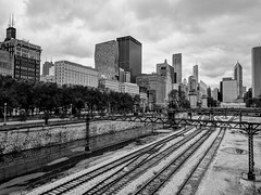 Overcast (ancientlives) Tags: chicago illinois il usa travel trips train metra downtown city cityscape loop michiganavenue towers architecture skyline skyscrapers walking streetphotography blackandwhite bw mono monochrome november saturday 2019 autumn
