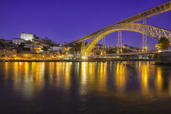 Bridge (Pawel Wietecha) Tags: bridge porto portugal europe sky blue red yellow orange water travel trip color light colors vivid outside outdoor journey river reflections city cityscape landscape nightscape night evening pontedomluísi