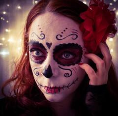 """La Calavera Catrina """"The Elegant Skull"""" ~ (själv)porträtt Marieke V ansikte nr.2 (marieke_verschuren) Tags: catrina halloween sugarskull skull"""