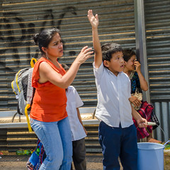 Stop! (Pejasar) Tags: 2015 guatemala college mission guatemalacity stop bus ride bucket boy woman candid street