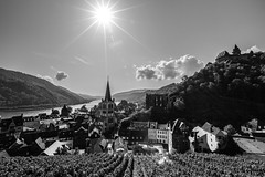 Bacharach (kiwi photo lover) Tags: germany rhinevalley rhine rhineriver bacharach town grapes grapevines sun glare flare bright light starburst clouds castle history historic burg stahleck