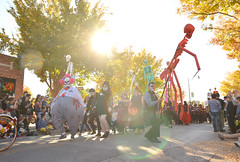 Guiding the procession (radargeek) Tags: parade procession dayofthedead plazadistrict okc oklahomacity 2018 october catrina festival facepaint skeleton sunflare