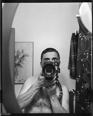 Selfie (Uta_kv) Tags: blackandwhite halloween 120film expired blackandwhitephotography expiredfilm kodakfilm fujicagm670 gm670 tmax400 selfie selfportrait portraits