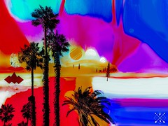 Color version (jeffellis24) Tags: moon moons circles circle shapes shape round photoshopexpress photoshop iphone7 tourist tour landscapes landscape land fall white blue red desert palmtrees palmtree art colors photomanipulation abstract