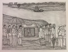 "A bride is carried by the traditional ""Palki"" after the wedding. (zerin0404) Tags: bangladesh bridegroom bride drawings pencil graphite heritage tradition culture weddings"