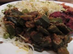 Bhindi Masala (annesstuff) Tags: annesstuff food eastindian curry okra vegetarian bhindimasala masala basmati rice peas