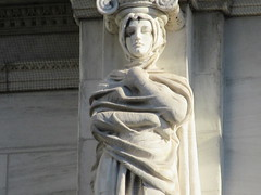 Mysterious Woman Dame Winter Caryatid NYC 8290 (Brechtbug) Tags: seasonal caryatid mystery women l r winter spring autumn summer courthouse roof statues across from madison square park new york city atlantid nyc art architecture gargoyle gargoyles statue sculpture sculptures facade figures column columns court house law government building seasons season buildings 2019 11022019 november
