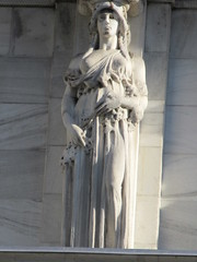 Mysterious Woman Dame Spring Caryatid NYC 8280 (Brechtbug) Tags: seasonal caryatid mystery women l r winter spring autumn summer courthouse roof statues across from madison square park new york city atlantid nyc art architecture gargoyle gargoyles statue sculpture sculptures facade figures column columns court house law government building seasons season buildings 2019 11022019 november