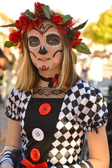 The catrina with the buttons (radargeek) Tags: dayofthedead plazadistrict okc oklahomacity 2018 october catrina festival facepaint
