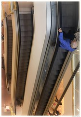 What the heck is going on here!! (joanneharlow70) Tags: escalators people shoppingcentre shopping women blue coat jacket streetphotography colourphotography urbanstreetphotography