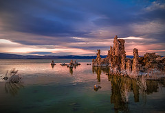 """Mono Lake at Sunset"" The Eastern Sierras, California (Cathy Lorraine) Tags: lake tufatowers monolake fall autumn october sunset reflections plants rocks mountains beauty nature outdoors california northamerica"