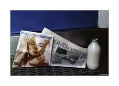 Sunday Times and Milk. Kodachrome 1982 © (wpnewington) Tags: kodachrome newspaper doorstep 1980s blue monroe kodak olympus om2n milk milkbottle coverofamagazine coloursupplement marilynmonroe sundaytimes