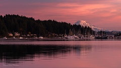 Northwest Evenings (Stephanie Sinclair) Tags: gigharbor mtrainier nikond810 novembersunsets pnw pnwonderland sonorthwest boats fall harbor landscape marina nature nikonnofilter panorama seattleempress stephaniesinclairphotography sunset waterscape zeiss