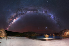 Milky Way at Elephant Cove - Denmark, Western Australia (inefekt69) Tags: milky way elephant cove rocks greens pool denmark tracked ioptron skytracker southern hemisphere cosmos western australia dslr long exposure rural night photography nikon stars astronomy space galaxy astrophotography outdoor core great rift 35mm d5500 panorama stitched mosaic nature landscape msice sky sea ocean granite magellanicclouds large small magellanic cloud milkyway airglow beach